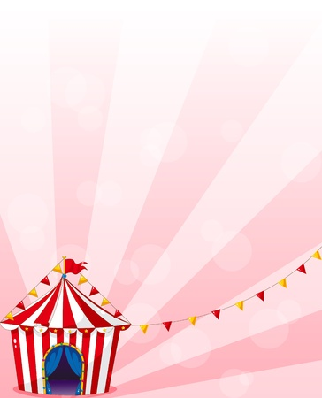 triangular banner: Illustration of a red circus tent with banners Illustration