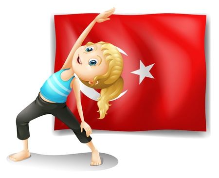 turkish flag: Illustration of the flag of Turkey with a girl exercising on a white background