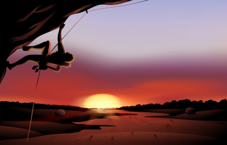 Illustration of a sunset scenery at the desert Vector