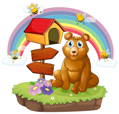 Illustration of a bear beside a wooden mailbox and a wooden signboard on a white background Vector