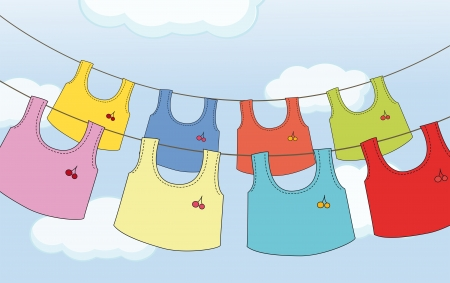 wet shirt: Illustration of the colorful hanging clothes