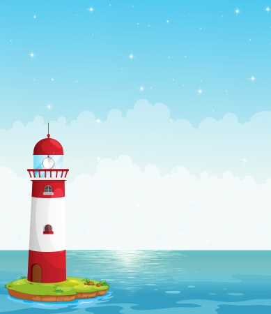 parola: Illustration of a lighthouse in the middle of the sea