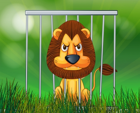 caged: Illustration of a scary face lion inside the cage