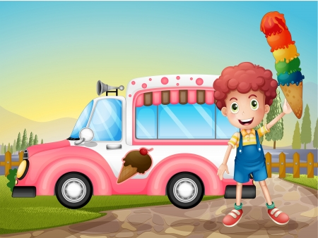 Illustration of a boy with icecream and the pink car Vector