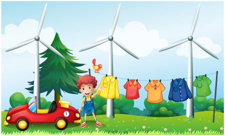 Illustration of a boy in the garden with his car and hanging clothes Stock Vector - 18860391