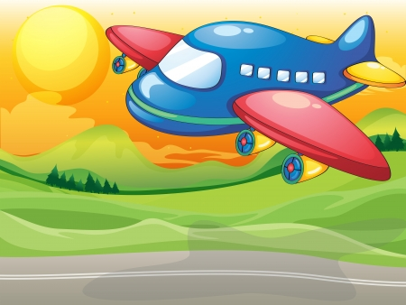 plane landing: Illustration of a blue airplane above the road
