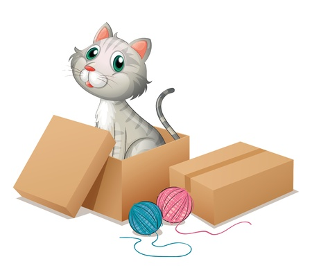 wrapped corner: Illustration of a cat inside the box on a white background Illustration