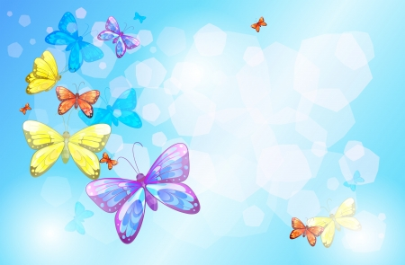 Illustration of a special paper with colorful butterflies Vector