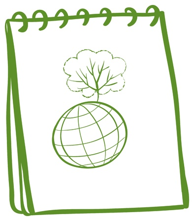 Illustration of a green notebook with a globe at the front page on a white background Vector