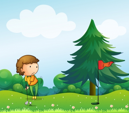 Illustration of a girl playing golf in the hill Illustration
