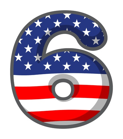 number 6: Illustration of a number six with USA symbols on a white background