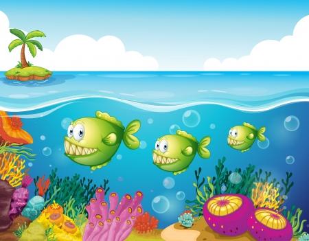 Ilustración de los tres pirañas verdes bajo el mar