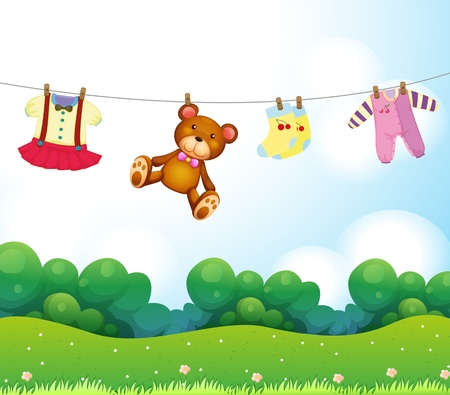 wet bear: Illustration of the baby things hanging Illustration