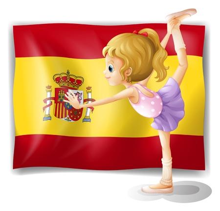 bandiera spagnola: Illustrazione di una ginnasta di fronte la bandiera spagnola su uno sfondo bianco