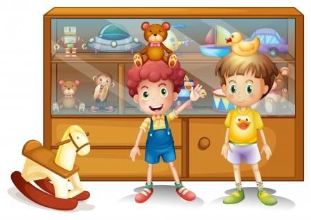 oyun zamanı: Beyaz bir arka plan üzerinde oyuncak bir kabine önünde iki genç erkek İllüstrasyon Çizim