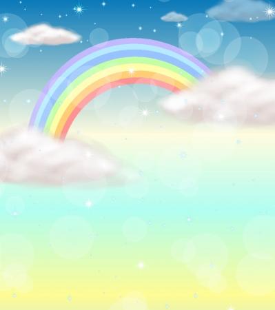 himmelsblå: Illustration av en regnbåge på himlen