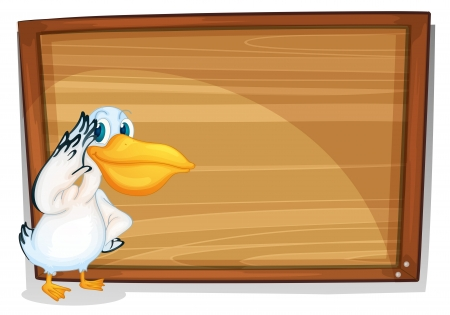 Illustration of a bird beside a wooden board on a white background Vector