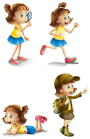 exploring: Illustration of the different activities of a young girl on a white background