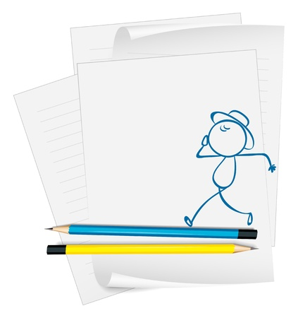 Illustration of a paper with a drawing of a boy walking on a white background Stock Vector - 18980968