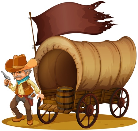 gunman: Illustration of a gunman with a wagon on a white background Illustration