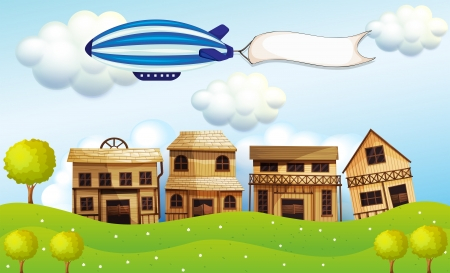 Illustration of an airship above the neighborhood with a banner Stock Vector - 18981216
