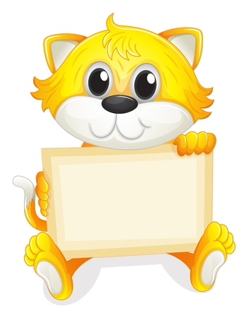 baby on board: Illustration of a happy kitten with an empty board on a white background