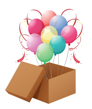 fuschia: Illustration of the balloons in the box on a white background Illustration