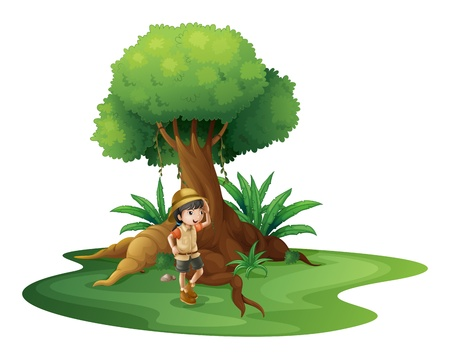Ilustración de una niña cerca del árbol gigante en un fondo blanco Ilustración de vector