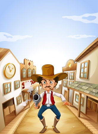 Illustration of a gunman at the village Vector