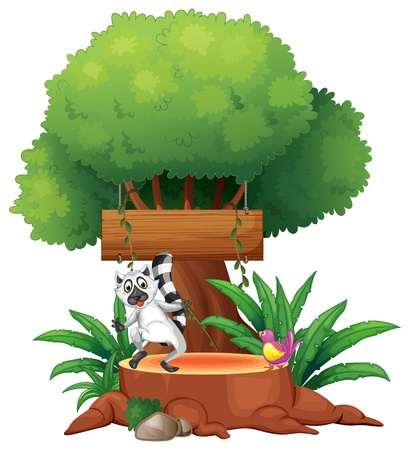 board: Illustration of an empty board under a big tree on a white background