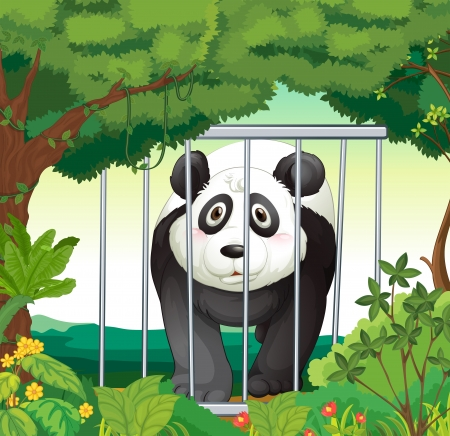 caged: Illustration of a forest with a panda inside a cage