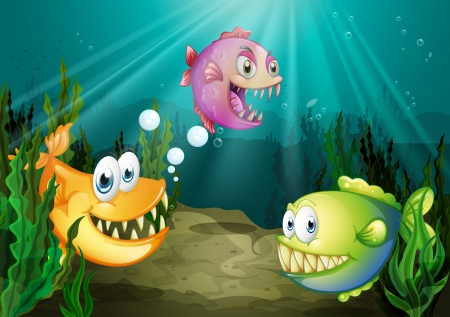 aquatic plant: Illustration of the three different kinds of fishes with big fangs under the sea Illustration