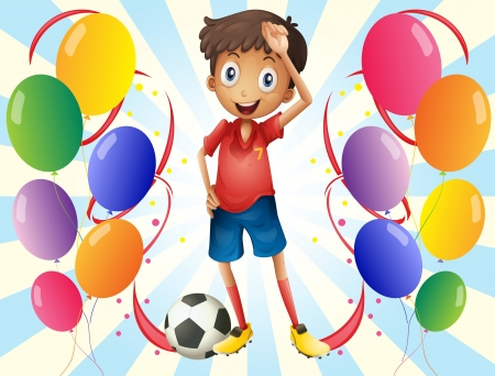 football party: Illustration of a soccer player in the middle of the balloons on a white background