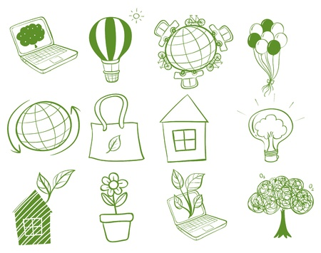 Illustration of the things around the environment on a white background Vector