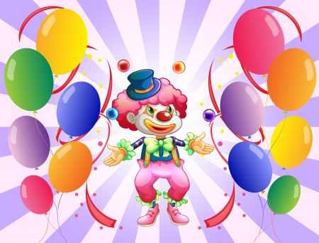 occassion: Illustration of a clown juggling in the middle of the balloons on a white background