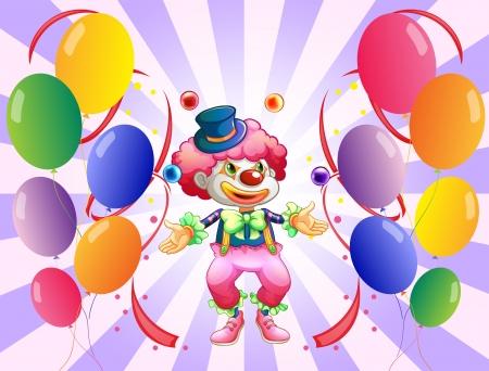 juggling: Ilustraci�n de un payaso malabarista en medio de los globos sobre un fondo blanco Vectores