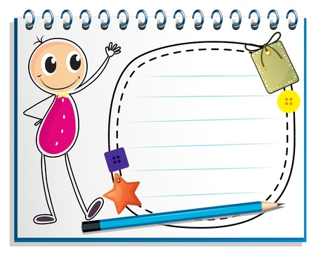 Illustration of a notebook with a drawing of a girl beside an empty space on a white background Vector