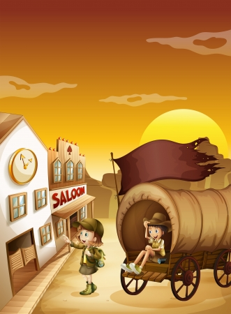 establishments: Illustration of a wagon with kids near a saloon Illustration