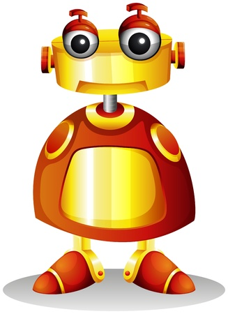 computerized: Illustration of a toy robot on a white background