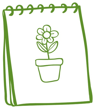 Illustration of a notebook with a drawing of a flower in a pot on a white background Stock Vector - 18981011