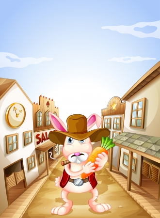 establishments: Illustration of a bunny with a carrot Illustration