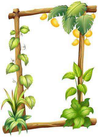 Illustratie van een frame gemaakt van hout met mango op een witte achtergrond Vector Illustratie