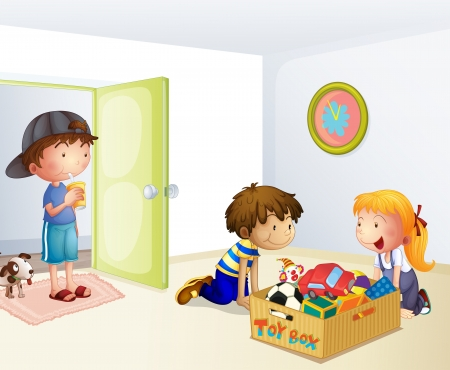 storage box: Illustration of the three kids inside the house with a box of toys Illustration