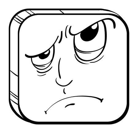 Illustration of an angry face in a cube on a white background Stock Vector - 18980962