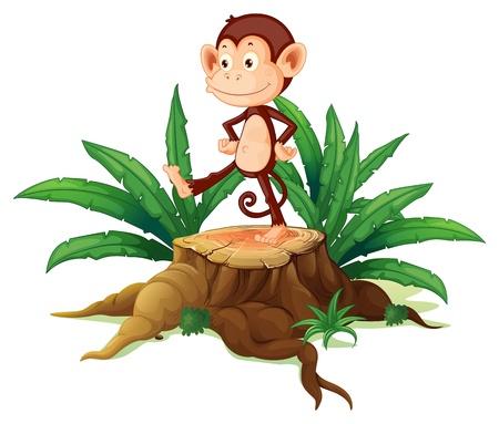 jungle plants: Illustration of a monkey above a trunk on a white background Illustration