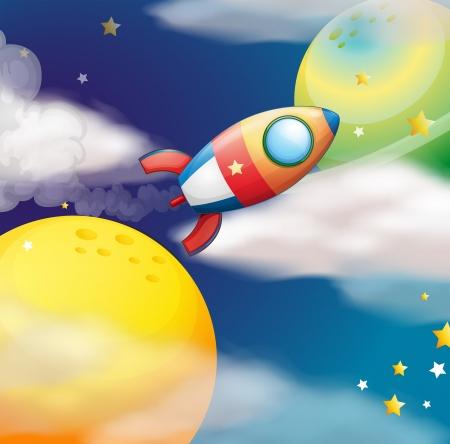 milkyway: Illustratie van een vliegende ruimteschip