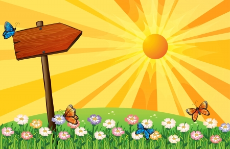 wooden stick: Illustration of a sunset with a wooden signboard in the garden