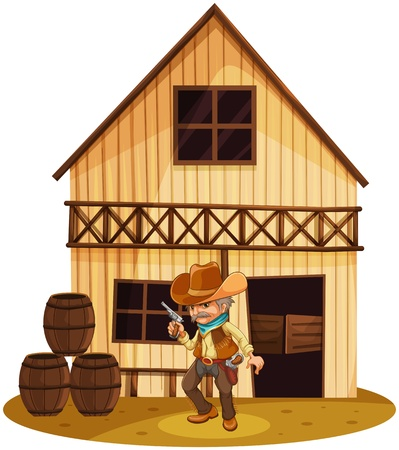 Illustration of a man holding a gun in front of a wooden house on a white background Vector