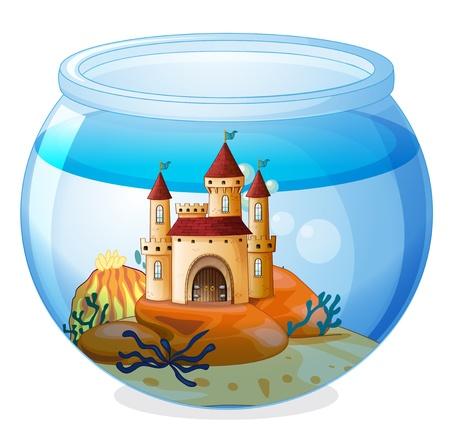 Ilustración de un castillo en el interior de una pecera en un fondo blanco