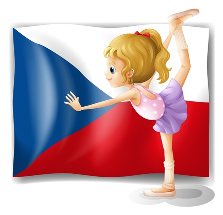 czech women: Illustration of a girl performing ballet in front of the Czech Republic flag on a white background